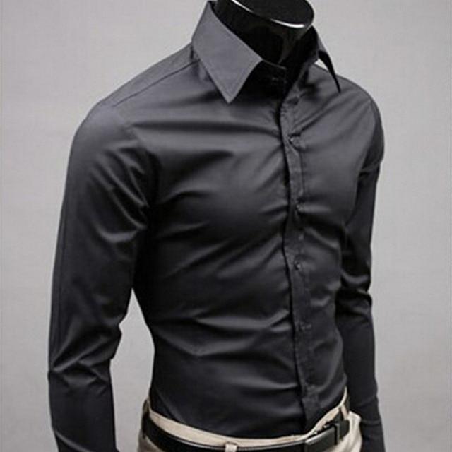 2019Men Hemd Langarm Mode Mens Casual Shirts Baumwolle Einfarbig Business Slim Fit Social Camisas Masculina RD464