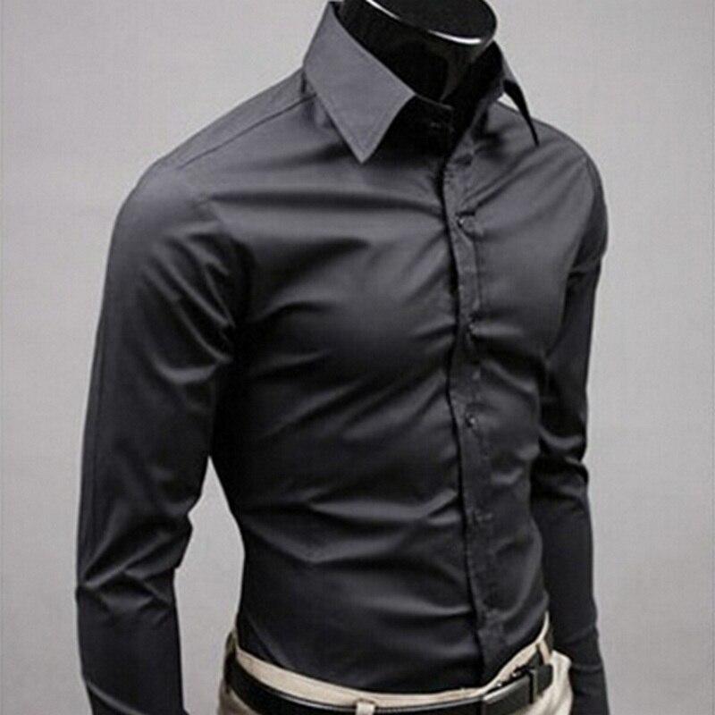 2019Men camisa de manga larga de moda Casual para hombre Camisas de algodón Color sólido Negocio Social ajustada Camisas Masculina RD464