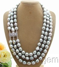 Women Gift word 925 silver real 3ROW Natural beautiful 9-10MM Grey Baroque Pearl Necklace