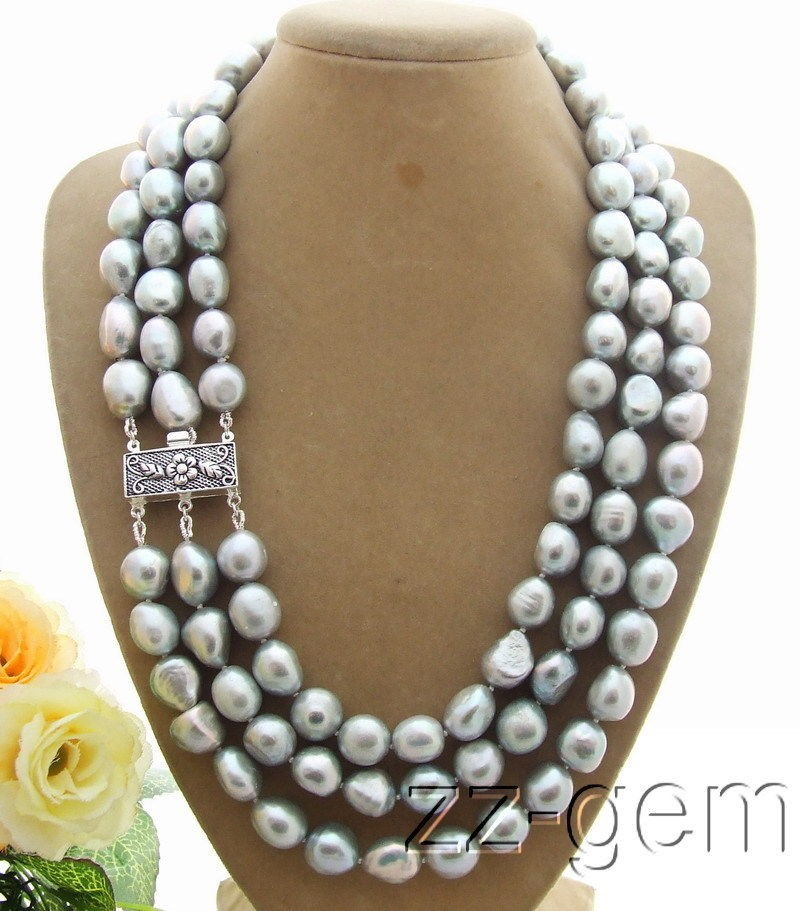 Women Gift word 925 silver real 3ROW Natural beautiful 9 10MM Grey Baroque Pearl Necklace