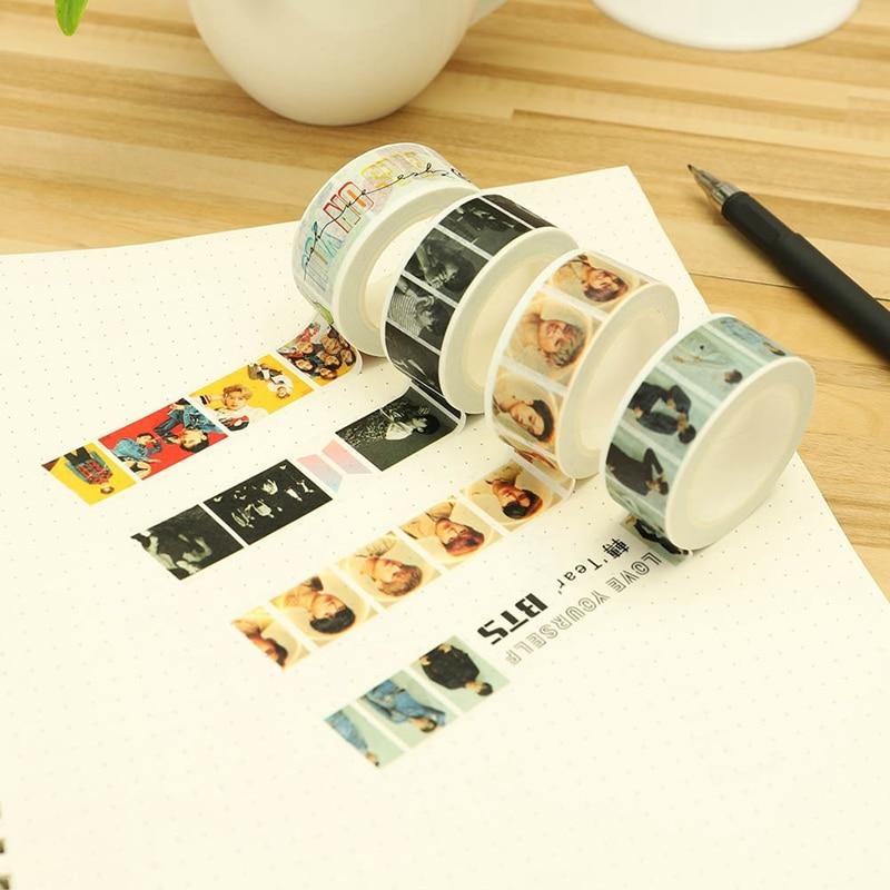 Office Adhesive Tape Honest New Arrival Kpop Bts Got7 Wanna One Notebook Sticker 1 Pcs Diy 2cm*10m Paper Masking Scrapbook Cute Washi Tape Be Shrewd In Money Matters
