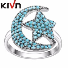 KIVN Fashion Jewelry Stunning Blue CZ Cubic Zirconia Crescent Moon Star Rings for Women Mothers Day Birthday Christmas Gifts