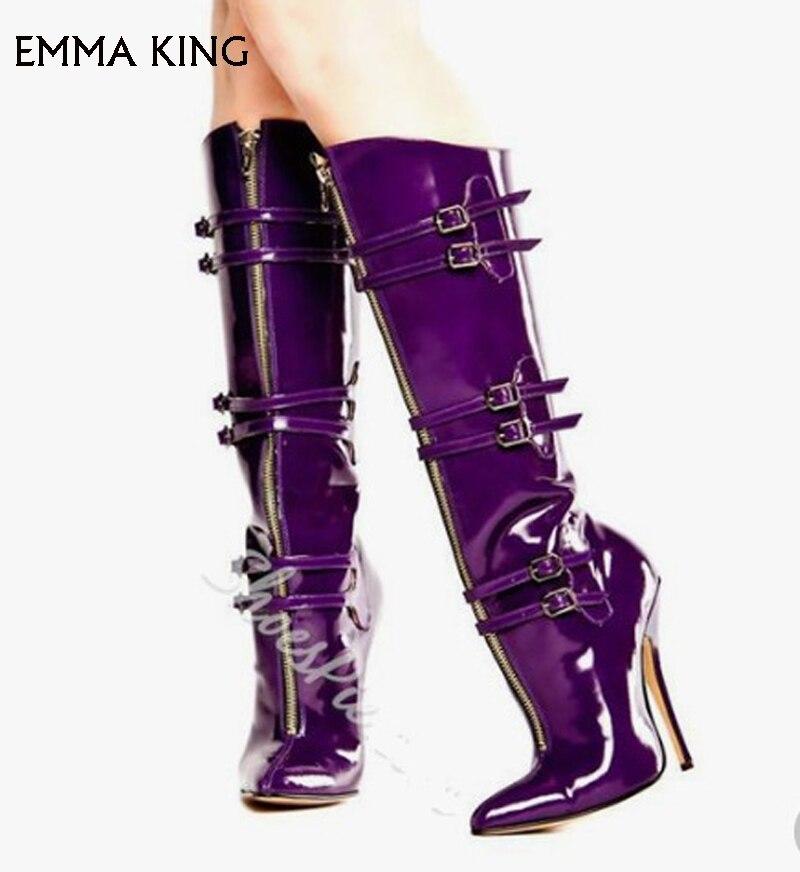 Rodilla Mujer Tacón Zapatos Sexy Nuevo Señaló As Stiletto Botas Picture De Calidad Cremallera Hebilla Alta La Tubo de Cinturón Púrpura qvwqxXnR6