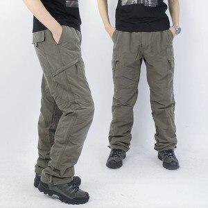 Image 2 - Inverno foderato in pile cargo uomini di doppio strato pantaloni caldi militare cargo pantaloni casual lungo baggy army outdoor pantaloni tattici