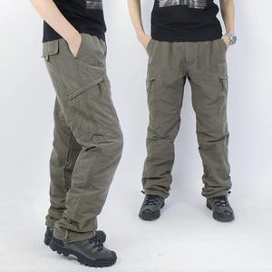 Image 2 - Mùa đông lông cừu lót hàng hóa của nam giới hai lớp quần quân sự ấm áp Cargo Pants Casual dài Baggy Army quần chiến thuật ngoài trời