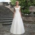 2016 Branco Marfim Vestidos de Casamento Tulle Dramatic A Linha Querida Cap Mangas Apliques Vestido De Noiva Elegante Tule Vestido de Mariage