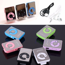 Hot Selling New Mini Mirror Clip USB Digital Mp3 Music Player Support 8GB SD TF Card + Earphone  jul14