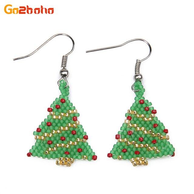 go2boho cute christmas tree earrings bracelets girl boho bangles friendship seed beads earring handmade bracelet ear
