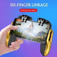 PUBG Mobile Controller Six Finger Gamepad With Cooler Cooling Fan For iOS Android Operation Joystick red and gold 500mAh battery