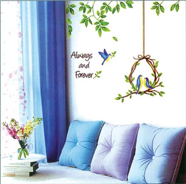 online shop blue bird wall stickers green leaves decals bedroom