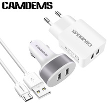 CAMDEMS Brand 2A EU wall Charger Adapter Micro Data Sync USB Cable dual Car Charger for Samsung HTC LG android Tablet PC MP3 MP4