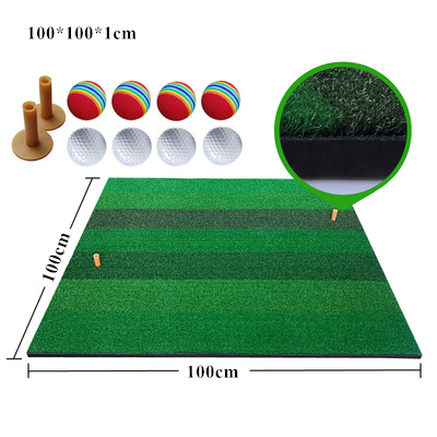 100*100*1cm Golf Practice Mats Golf Hitting Grass Mat With 2 Golf Tees & 8 Golf Balls Green Patchwork