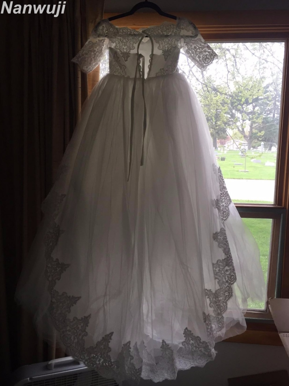 2018 Half  Flower Girl Dresses half Sleeve for Weddings Champagne Kids  Gown   First Communion Dress  Sleeves Pink Prom gown