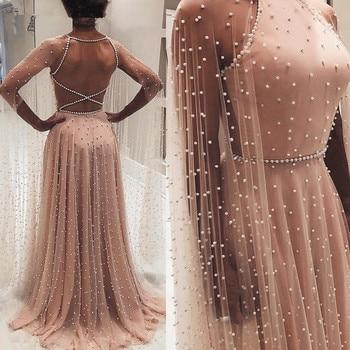 SuperKimJo Peals Prom Dresses 2019 Dusty Pink A Line Elegant Backless Long Prom Gown Vestido De Festa