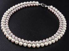 wholesale latest new design jewelry 2rows natural AA 9-10mm white&gray  freshwater pearl necklace 006