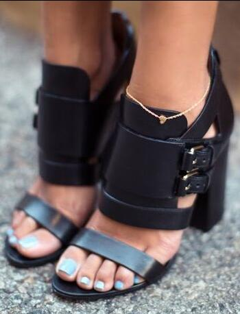 Hot Selling 2018 Sexy Peep Toe Buckle Strap Woman Gladiator Sandals Square High Heels Dress Shoes Woman Band Ankle Sandals Boots woman sandals ankle strap buckle pumps women high square heels shoes peep toe summer feminino gladiator sandals or914975