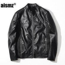 Aismz Male font b Leather b font font b Jacket b font Casual Jaqueta De Couro