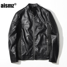 Aismz Male Leather Jacket Casual Jaqueta De Couro Masculino Men Vintage Fashion Motorcycle Casaco Masculino Jacket Coats 8872