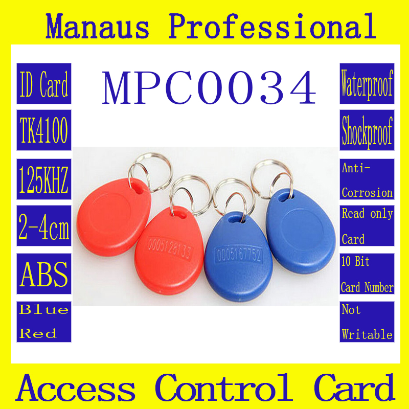 High Quality 100Pcs 2 Colors RFID 125khz Chip Contactless Timecard Tag Proximity Access Control Card ID Keyfob Token C34-1