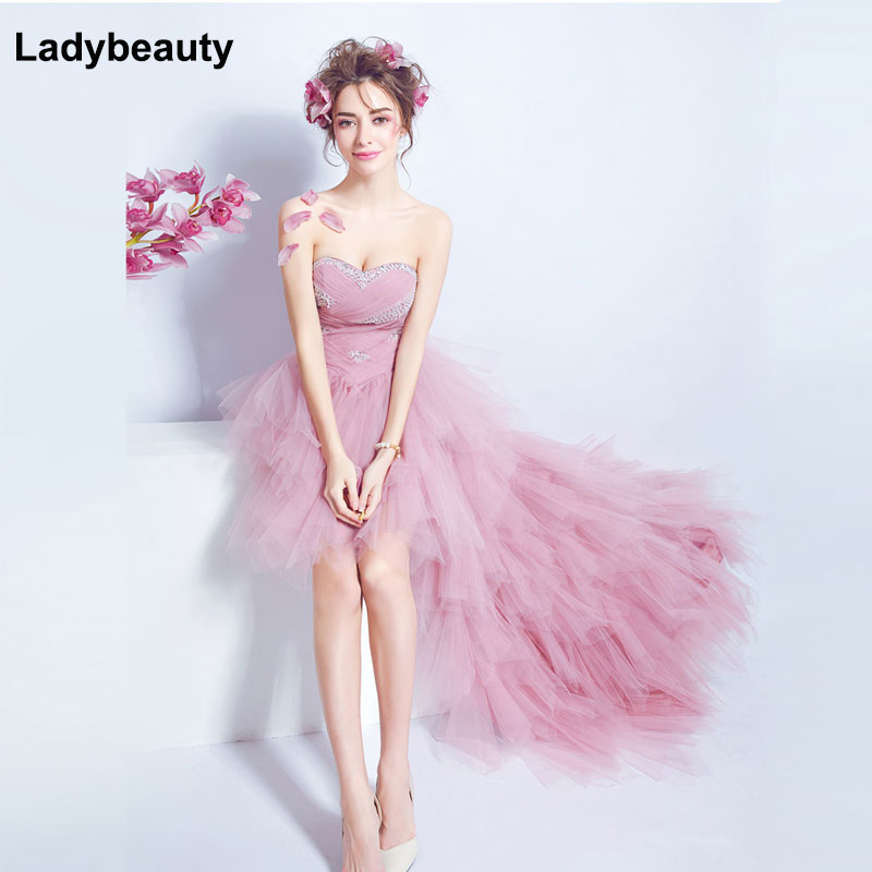 Ladybeauty 2018 Pink evening   dress   the bride royal princess   Prom     dress   Short Front Long Back Lacing Evening grown