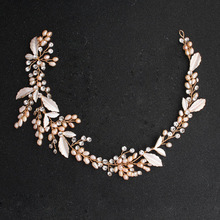 SLBRIDAL Gold Wired Crystal Rhinestone Freshwater Pearls Flower Wedding Jewelry Headband Bridal Hair accessories Women Headdress