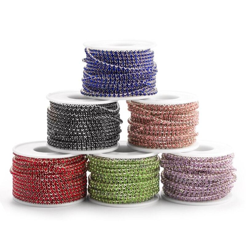 QIAOSS6 SS12 muchos colores nuevas ofertas de 10 metros/rollo de cristal de cadena de diamantes de imitación de cristal bricolaje accesorios de moda cerca de cadena de la taza del Rhinestone