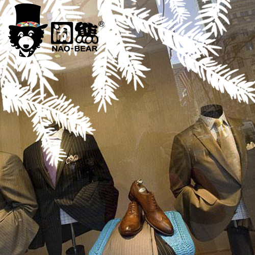 DCTAL Christmas tree glass window wall sticker decal home decor shop decoration X mas stickers xmas084