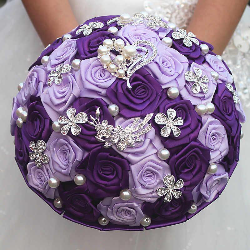 JaneVini หรูหราสีม่วง Rose ช่อดอกไม้สำหรับเจ้าสาวคริสตัลซาตินไข่มุกประดิษฐ์ดอกไม้งานแต่งงานเข็มกลัดเจ้าสาวลูกปัด