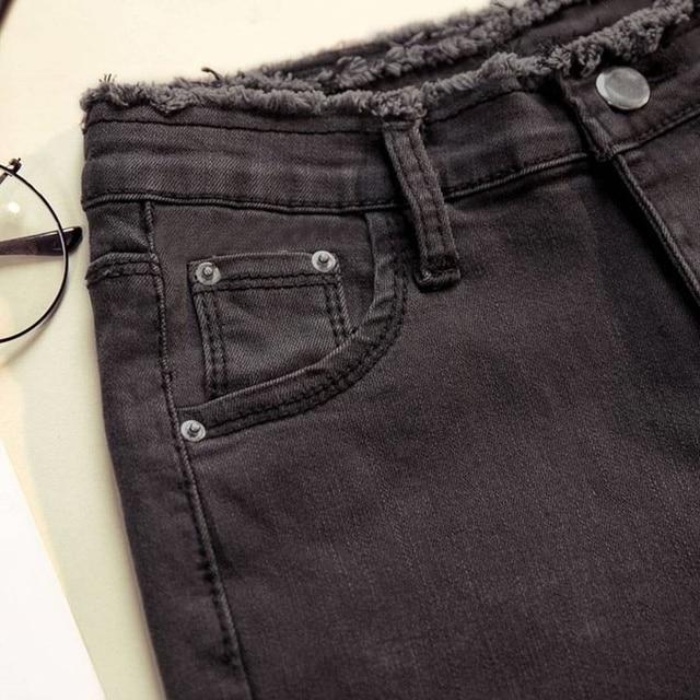 Women Denim Pants Black Color Donna Stretch Bottoms Feminine Skinny Pants Trousers 4