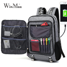 Winmax New Men Youth Fashion Multifunctional Oxford Casual Laptop Backpack School USB Charge Waterproof Travel Bags Male Bolsa