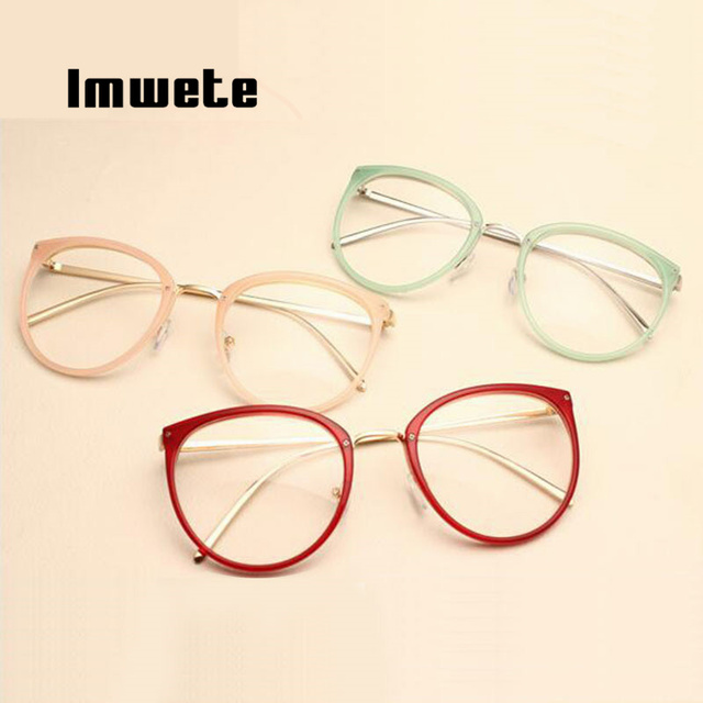 Imwete Optical Transparent Glasses Myopia Eyeglasses Frames Metal Spectacles Clear Lenses 4