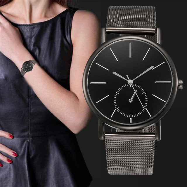 Womens Fashion Classic Gold Geneva Quartz Stainless Steel Wrist Watch Luxury Sim