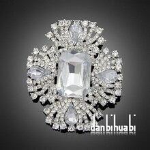 Мода горный хрусталь классический большой стеклянный кристалл акрил свадьбы брошь для женщин Ae047