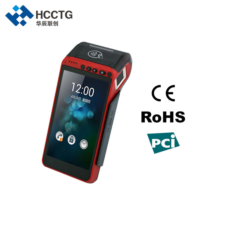3G/4G/WIFI 5,5 pulgadas pantalla táctil portátil Edc huella digital Android POS Terminal con impresora NFC lector HCC-Z100