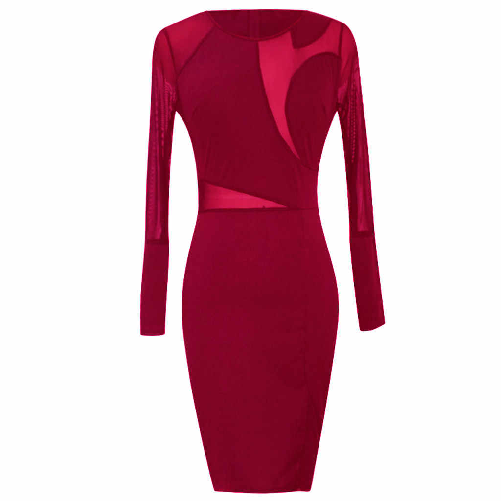 Модные вечерние платья в готическом стиле 2019Летнее женское сексуальное платье с длинным рукавом и круглым вырезом, черное платье с сеткой, облегающее платье vestido