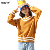 RUGOD Irregular Stitching Autumn And Winter Women Sweater Pullovers Korean Version Of The Chic Loose Thin