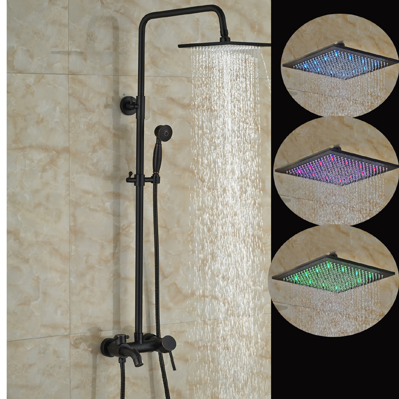 Oil Rubbed Bronze 8 LED Square Rain Shower Head Tub Spout Hand Shower Sprayer