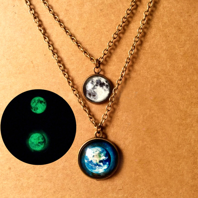 1pc Glowing Jewelry Galaxy Moon Necklace Glass Art Photo Earth Globe Necklace Glow In The Dark Necklace