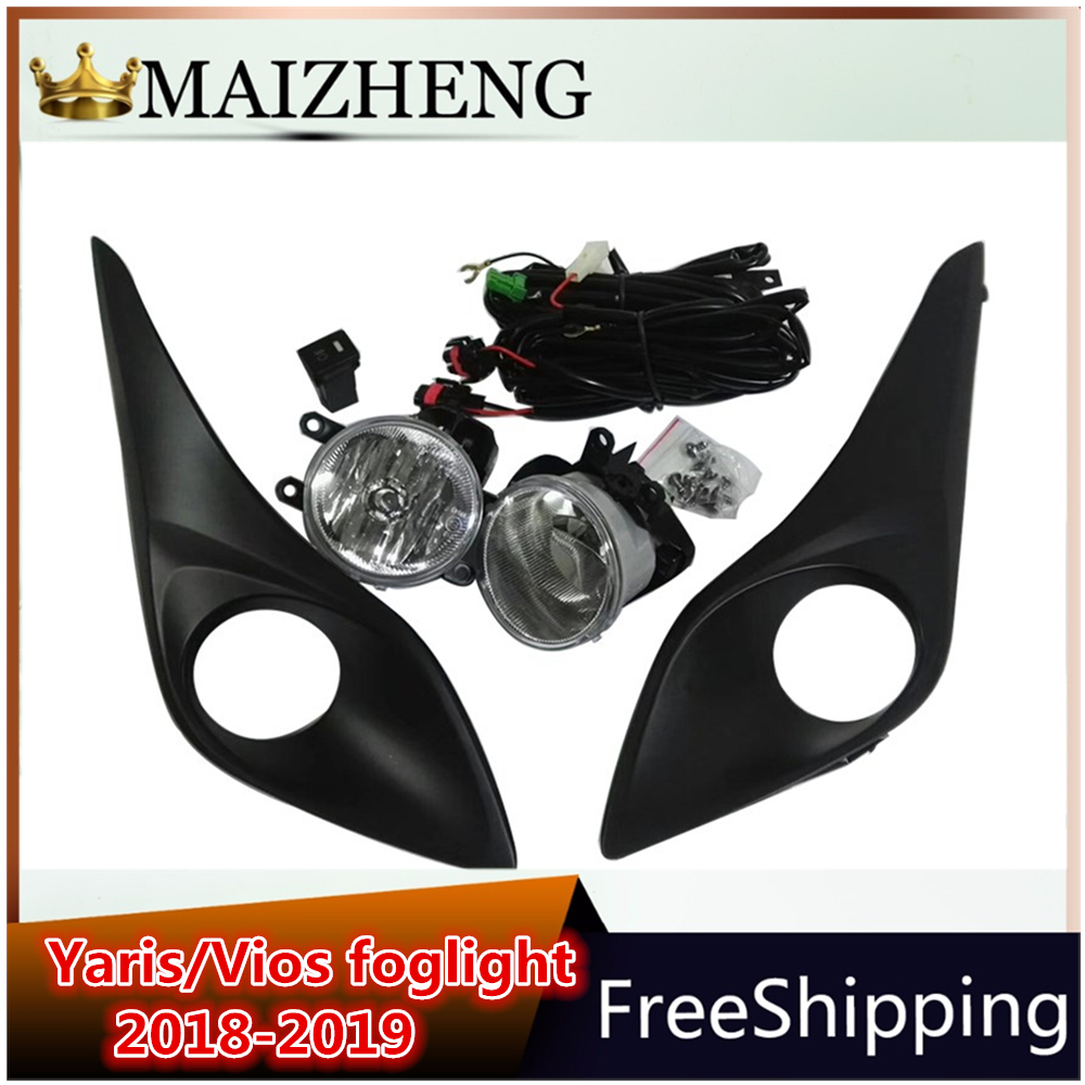 12V one set foglight for Toyota Yaris/Vios 2017 2018 2019 foglight daylight car light Waterproof ABS Cover