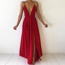 Split maxi dress chiffon solid sexy evening party clubwear spaghetti strap dresses