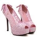Cetins De Seda doce Arco Nó Salto Fino Bombas Sexy Flor Do Laço malha Dedo Aberto Sapatos de Salto Alto Mulher Sapatos de Festa de Casamento Rosa
