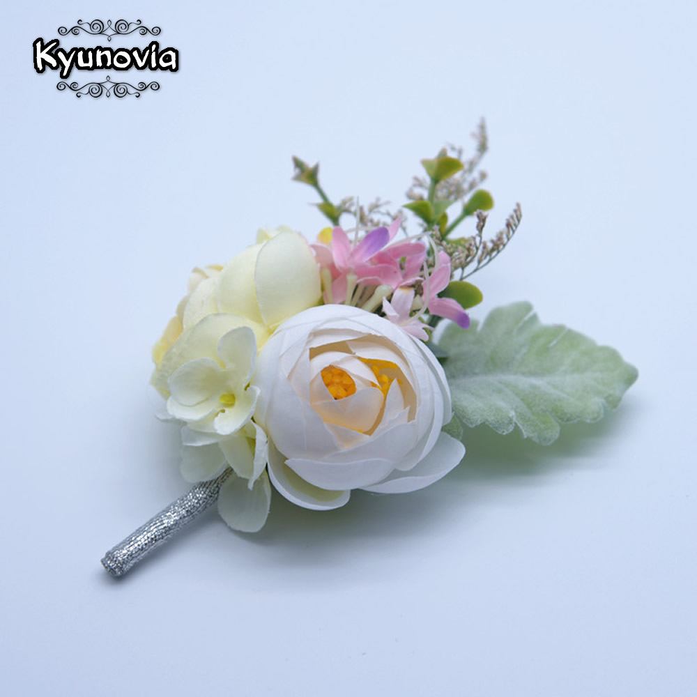 Symbol Of The Brand Peach Rose Bouquet Brooch Floral Corsage Wedding Flower Boutonniere Lapel Pin 12 Costume Jewellery