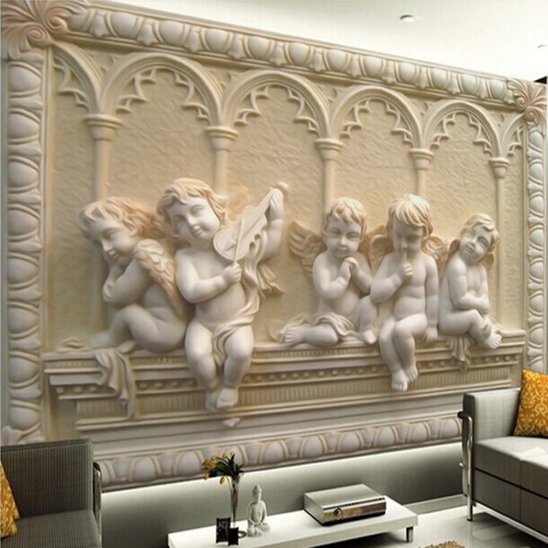 Custom Any Size 3D Wall Mural Wallpaper 3D Stereoscopic Angel Carving Relief Living Room Sofa Backdrop Seamless Mural Wall Paper