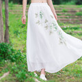 Excellent 2016 Fashion Women Casual New Vintage Print Pleated Chiffon Skirt Spring Summer Long Skirt