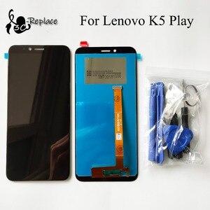 Image 1 - Preto original 5.7 polegada para lenovo k5 jogar l38011 display lcd completo de toque digitador da tela peças reposição assembléia ferramentas gratuitas