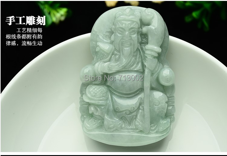 Craftsman Carven Natuur Jade Jadeite Amulet Guan Yu Talisman Lucky Ketting Apotropaion Zorgvuldig Geselecteerde Materialen