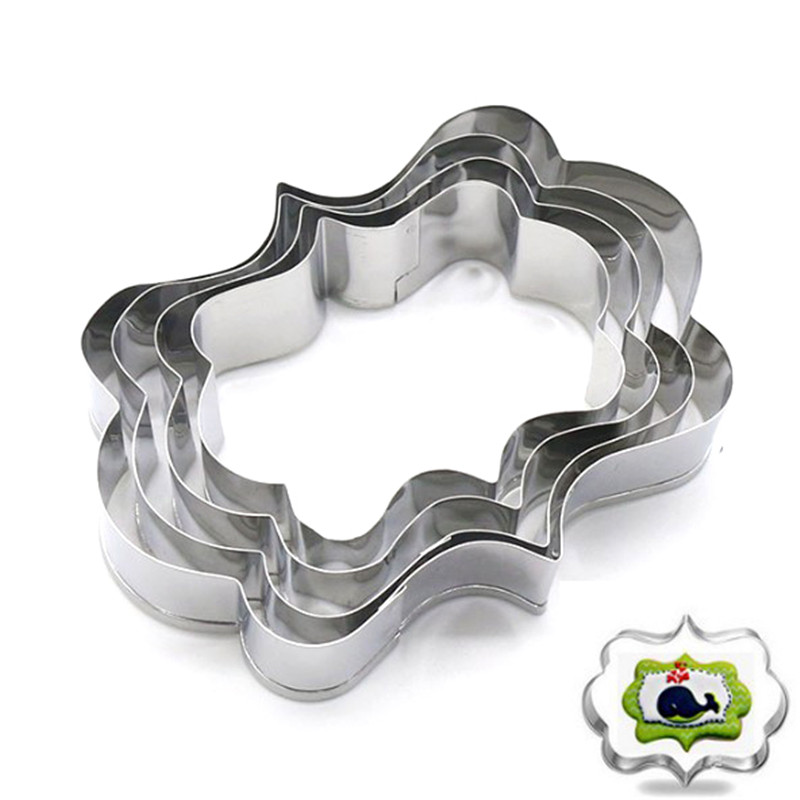 TTLIFE 4pcs/set Stainless Steel Cookie Cutters Blessing Wedding Frame 3D Biscuit Sugarcraft Kitchen Mould Baking Pastry Tools