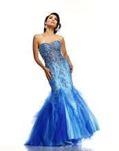 Kleider Für Prom Trompete Schatz Bodenlangen Tüll Kristalle Mermaid Kleid Backless Sexy F726