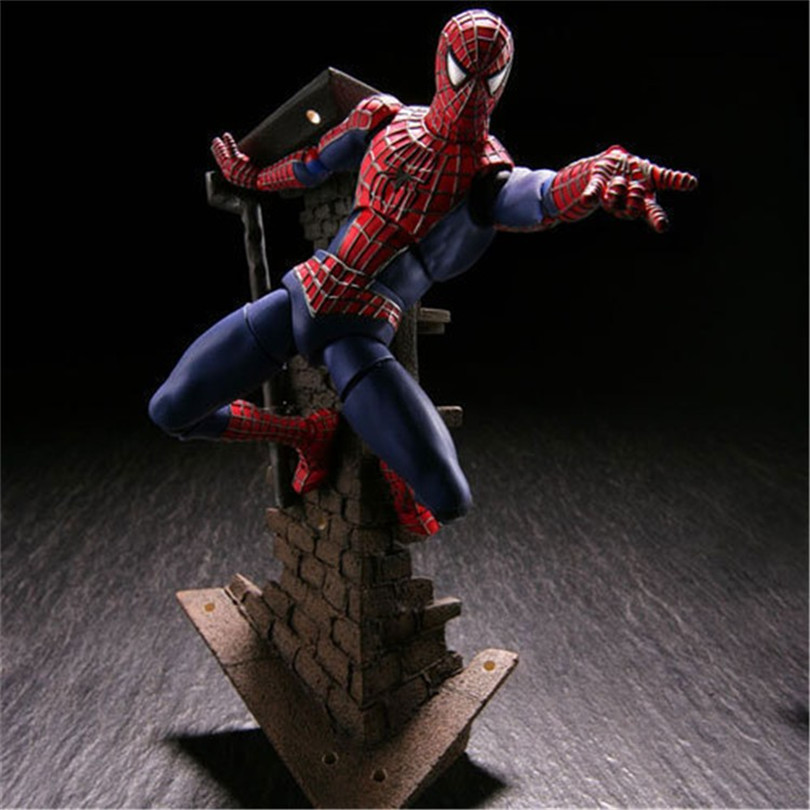 Spiderman Toys Super hero The Amazing Spider-man PVC Action Figure Collectible Model Toy For Kids Christmas Gift 13cm N030 2017 new avengers super hero iron man hulk toys with led light pvc action figure model toys kids halloween gift