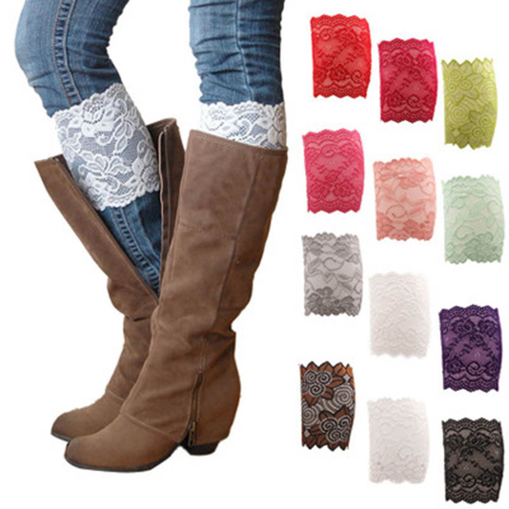 1 Pair 9 Colors Women Lady Girls Elastic Stretch Flower Lace Boot Cuffs Leg Warmers Trim Toppers Socks